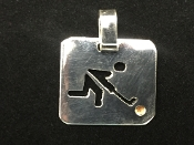 Sterling Silver Field Hockey Player Square Charm - Male