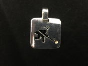 Sterling Silver Field Hockey Player Square Charm - Female